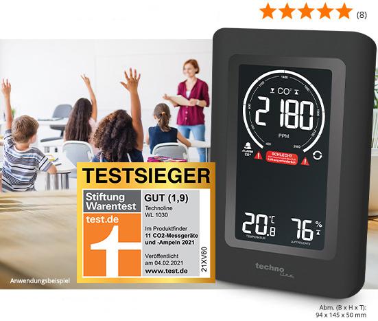 technoline CO2-Messgerät / CO2-Anzeige WL1030, Kohlendioxid, mit grafischer Ampel-Anzeige; Artikel-Nr. 251660; 74,79€*